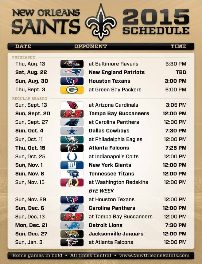 2015 Saints Schedule (official) - Page 4 - New Orleans Saints - Saints Report - Message Boards