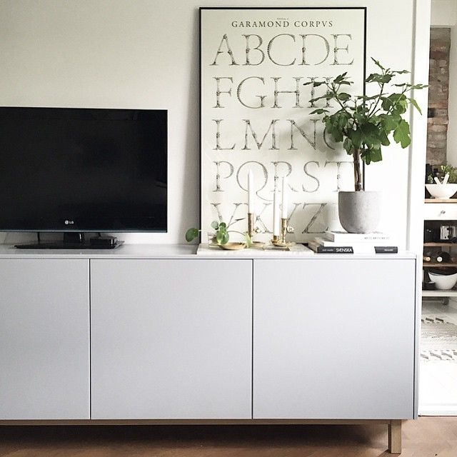Ikea 'Metod' sideboard Under the tv with tv on wall.