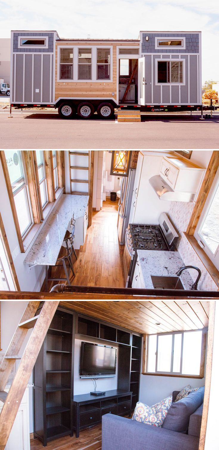 The Teton is a beautifully designed tiny house by Alpine Tiny Homes. The living room features a large built-in entertainment center and a pull out couch.