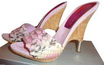 Gianmarco Lorenzi Snake Skin Witth Ruffia Embelished Heels Pink Mules on Sale, 51% Off | Mules & Clogs on Sale