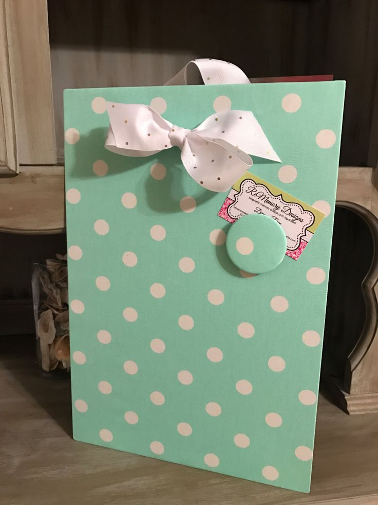 Magnetic Message Board, Sister Gift Idea, Mint Polka Dot Decor, Baby Nursery Wall Decor, Fabric Magnet Board, Bulletin Board by rememorydesigns on Etsy