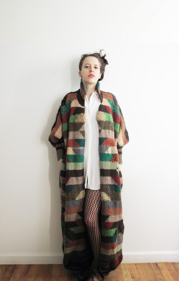 Multicolored sweater coa