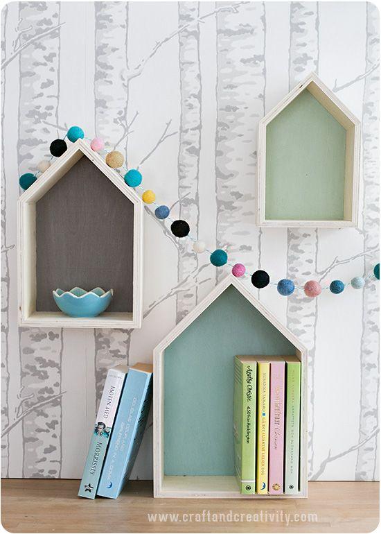 DIY - Painted house shaped shelves and festoon by craftandcreativity.com