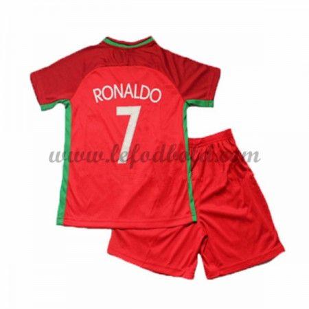 Portugal Børn Fodboldsæt UEFA Euro 2016 Cristiano Ronaldo 7 Kortærmet Hjemme Fodboldtrøjer