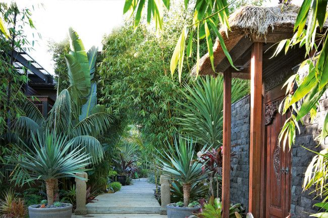 Landscaper Clint Bramston has created a tropical paradise on the NSW South Coast, complete with a lava-stone gatehouse featuring teak doors and a thatched roof.