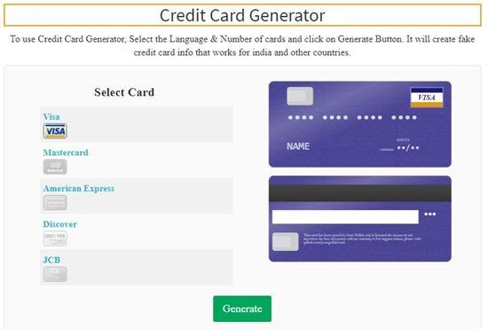 Credit Card Generator Tool [Fake Credit Card With Money