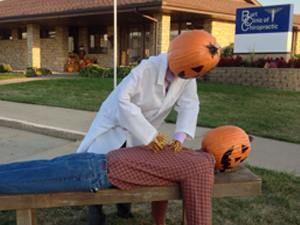 chiropractic humor | Dr. Pumpkin adjust gourds of patients - Burt Chiropractic Clinic