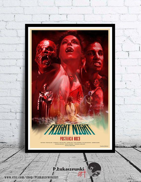 FRIGHT NIGHT  alternative movie poster / print horror vampire Chris Sarandon William Ragsdale Amanda Bearse Stephen Geoffreys Roddy McDowall