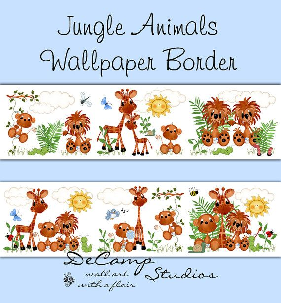JUNGLE ANIMALS WALLPAPER wall art border decals for baby boy zoo nursery or children's safari room decor. Includes the cutest little monkey, lion, and giraffe #decampstudios