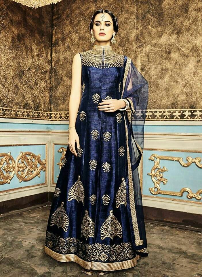 Blue color banglori silk Gown For purchase