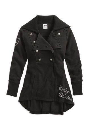 Harley-Davidson® Women's Black Peacoat with Military Influence 96298-15VW