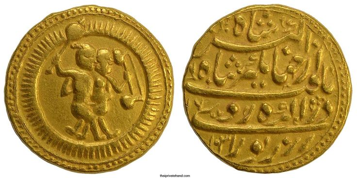 Indian Coins, Mughal. Nuruddin Jahangir , 1605-1627 AD, Gold Mohur (11.17 grams; 20.6 mm.), die-axis 3 o'clock.   Obv. Twins (Gemini). Twins standing face to face and embracing, both holding instruments sita and veena, in radiate circle, within double circles with dots between.