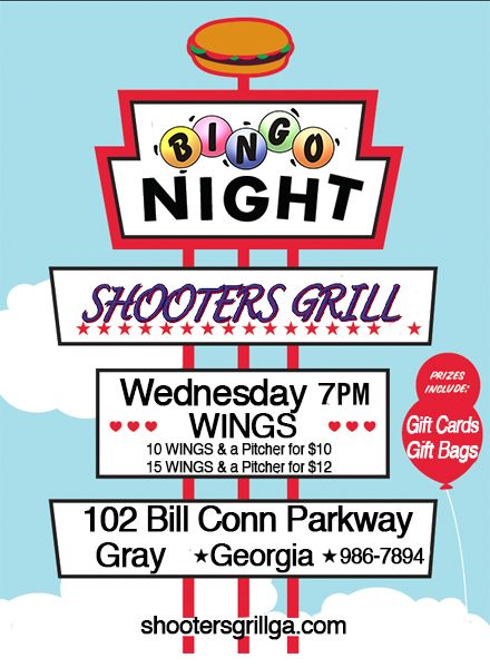 Make plans now to join Shooters Grill this Wednesday Night for BINGO where you'll have a chance to win Gift Cards, Gift Bags for the Kiddos and Great Food at Great Prices! We'll see ya soon!