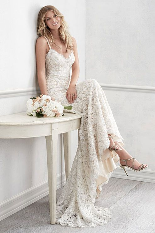 Exquisitely crafted with all-over Cybele lace, this stunning wedding dress offers glamour and romance in equal measure. WTOO Spring 2016 bridal collection