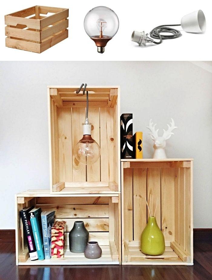 1001 Idees Pour Detourner Une Caisse En Bois Ikea Deco Caisse En Bois Caisse Bois Diy Horloge