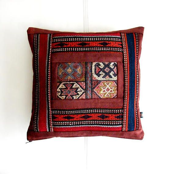 Wool Patchwork Pillow, Antique Kilim Pillow, Bohemian living, Handmade Wool Seat-cushion, Decor Throw Pillow (34x34 cm)
