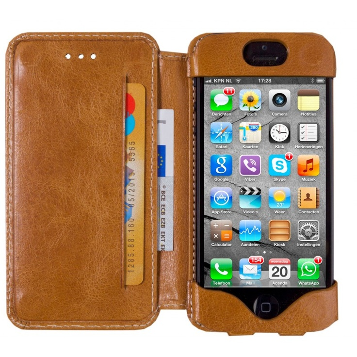 Golden tan, 'open' leather wallet for iPhone 5 by dbramante1928. Price: $50. More information: www.dbramante1928.com.