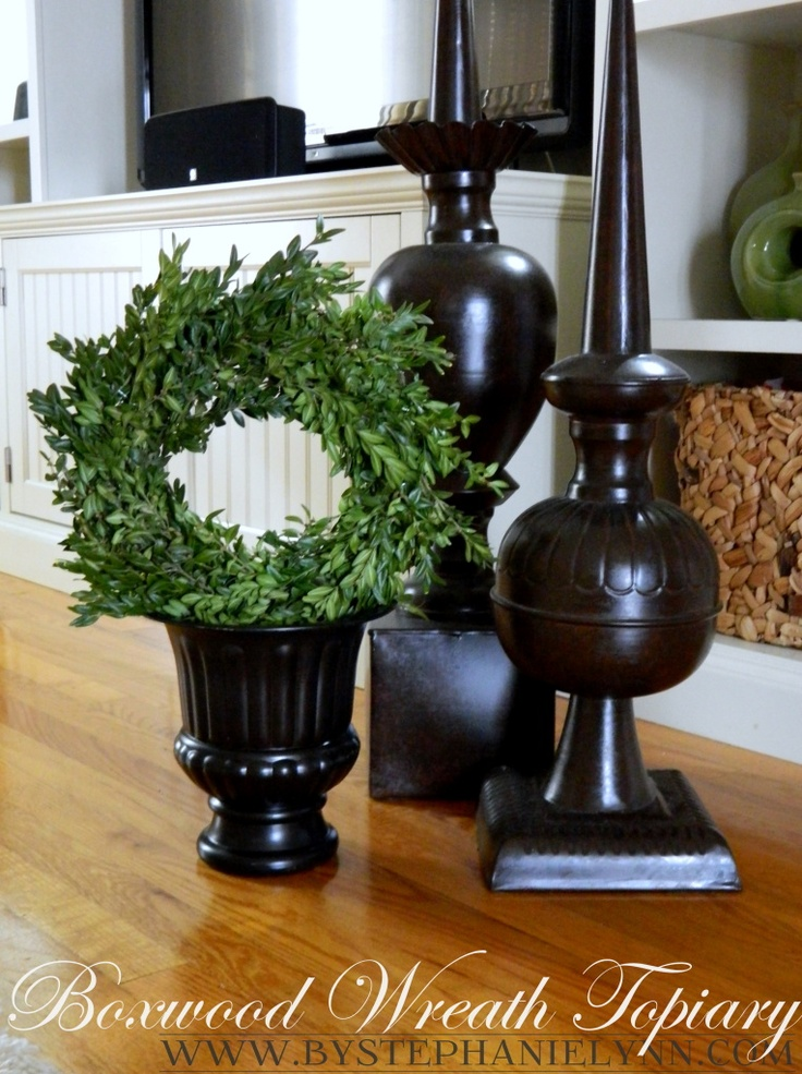 Preserving your own boxwood with glycerin and items needed to make this: Wreaths Topiaries, Boxwood Topiaries, Diy Preserves, Decor Ideas, Crafts Ideas, Preserves Boxwood, Diy Boxwood, Table, Boxwood Wreaths