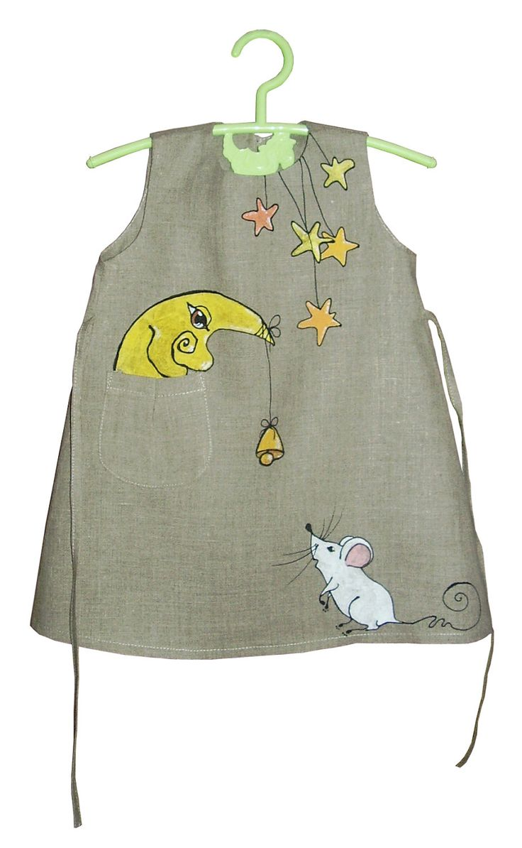 "Linen dress - painted dress - unit work - size by height 36""/92 cm for 2-3 year - children. $50.00, via Etsy."