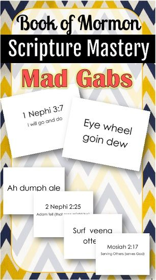 Free printable mad gabs for Book of Mormon Scripture Mastery!  These are a riot!!!