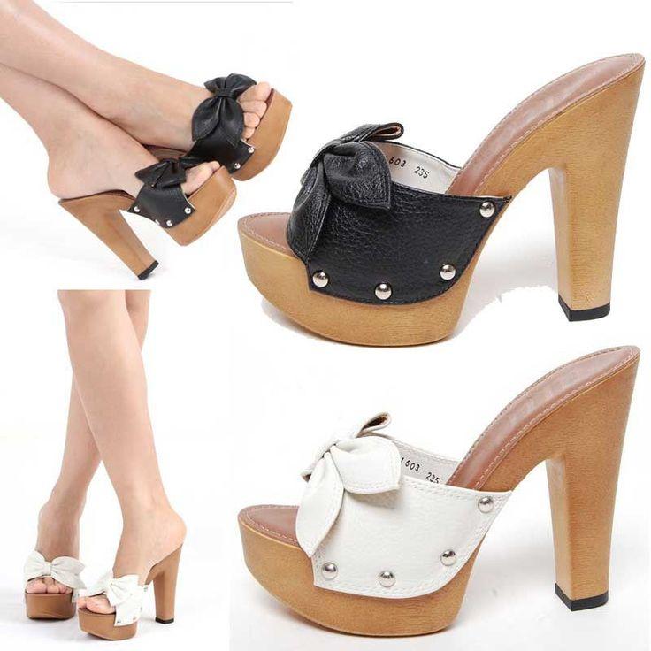 Starfashion Womens Ribbon Stud Platform High Heels Sandals Mules Slippers #Korea #PlatformsWedges