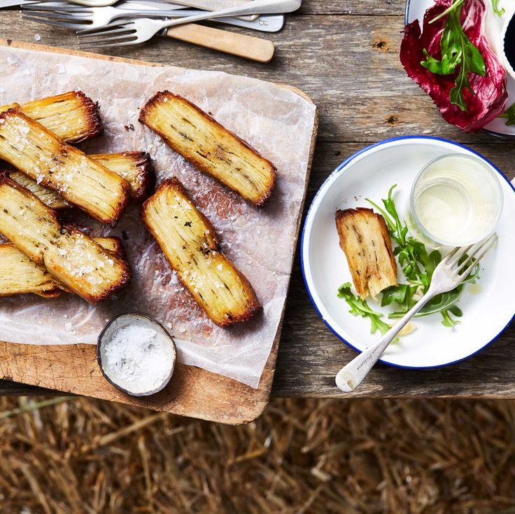 Potato pavé (golden bricks of pressed, creamy potato)