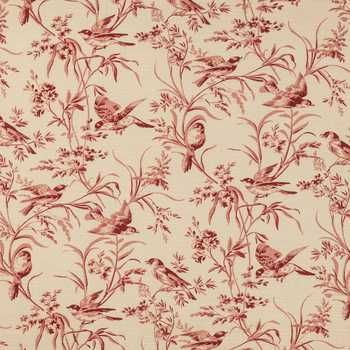 Rouge Aviary Toile Home Decor Fabric - thinking of this lovely toile fabric for my farmhouse dining table redo.