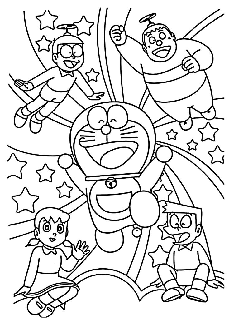 Doraemon and friends coloring pages for kids, printable free - Doraemon cartoon