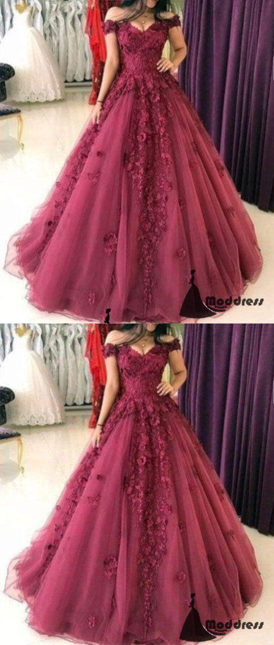 3D Floral Applique Long Prom Dress Off the Shoulder A-Line Evening Dresses,HS448 #dresses #promdresses #fashion #shopping #eveningdresses #prom