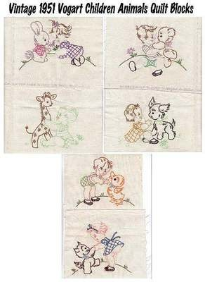 1951 Baby Children Animals Stamped Embroidery Quilt Blocks Squares Vogart 296 | eBay