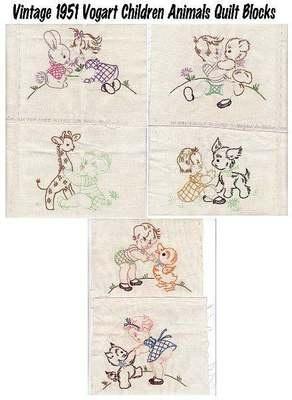 1951 Baby Children Animals Stamped Embroidery Quilt Blocks Squares Vogart 296   eBay