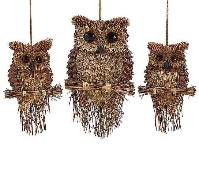 Large Handcrafted Owl Ornaments  $19.50 Free 15 ft. Hunter & Red Raffia to Dress them for the Holidays!