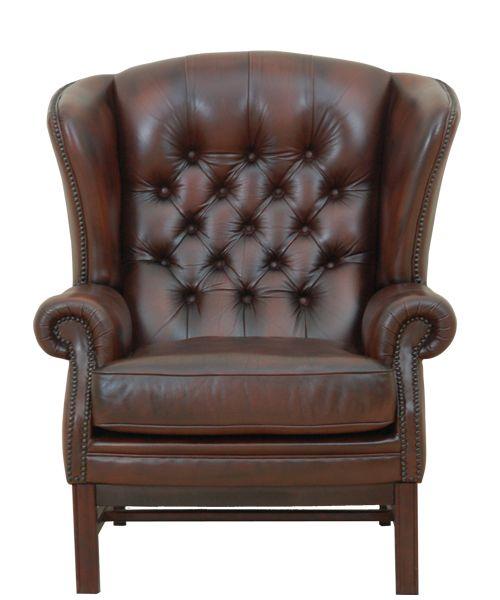 tweedehand chesterfield fauteuil hoge rug