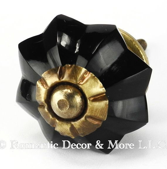 Set 12 black melon glass cabinet knobs drawer pulls and for Antique knobs for kitchen cabinets