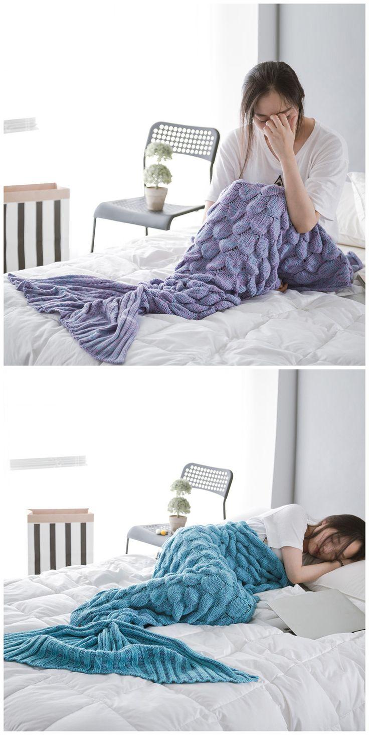 Super Soft Yarn Knitted Fish Scale Sleeping Bag Mermaid Blanket