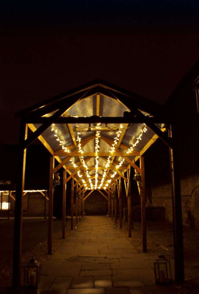 Walkway lighting outside the Monks Refectory at Notley Abbey