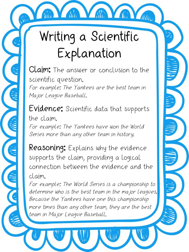 Perfect anchor chart when introducing the claim, evidence, reasoning framework for writing a scientific explanation!   Print it out and enlarge it or minimize it for use in their interactive science notebooks!