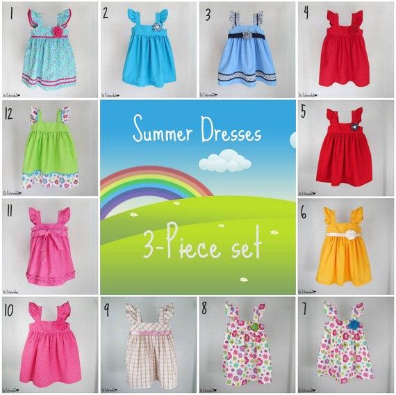 Girls summer dresses - Set of three