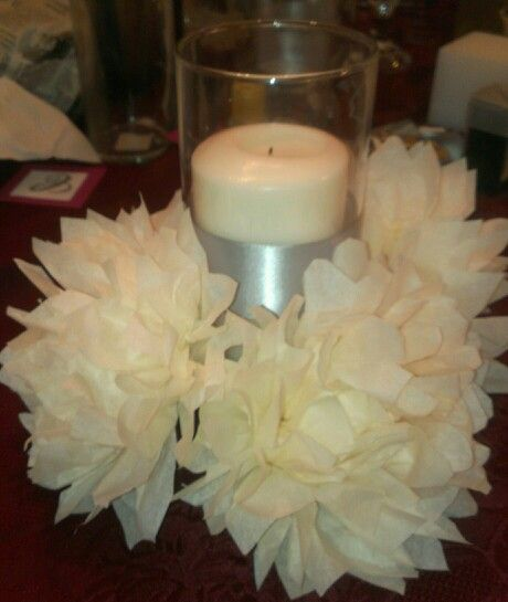 Floral Centerpiece Prices : Tissue paper flowers and dollar tree vase the cost for