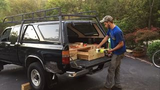 I wanted to make a camper bed with pullout drawers for my truck. After getting a truck cap, I gathered up some reclaimed wood from pallets and old shipping crates...