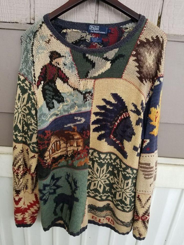 350.00 Vtg Ralph Lauren sweater indian head patchwork  American flag  #PoloRalphLauren #Crewneck