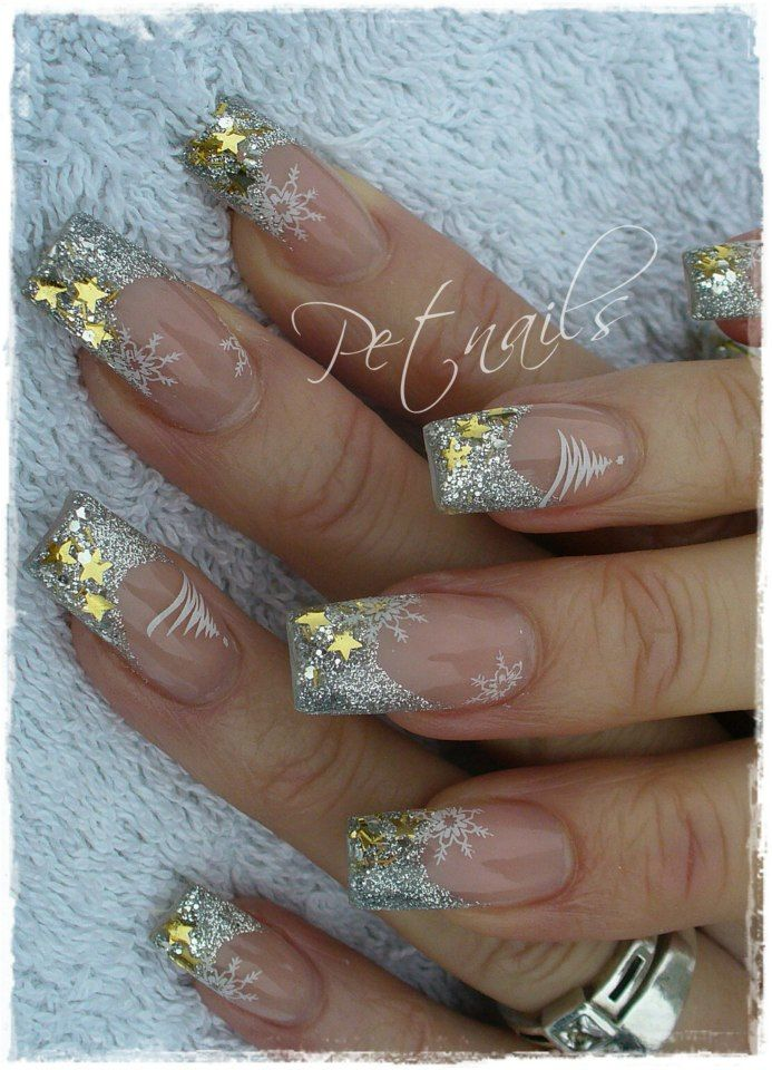 Gold and silver glitter holiday nails with snowflakes