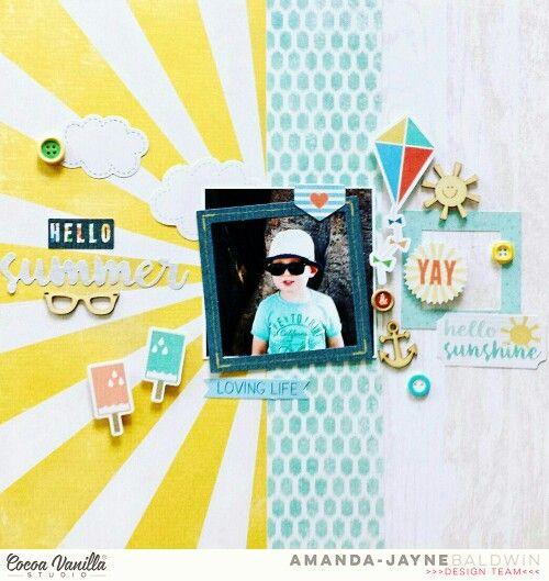 Cocoa Vanilla Studio : Hello Sunshine collection : Hello Summer layout by Amanda Baldwin