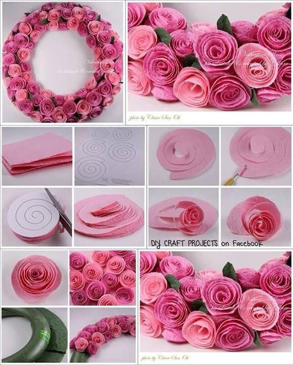 Beautiful felt flower wreath.--> http://wonderfuldiy.com/wonderful-diy-beautiful-felt-rose-wreath/