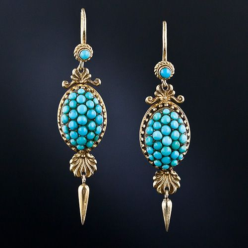 Victorian Turquoise Drop Earrings
