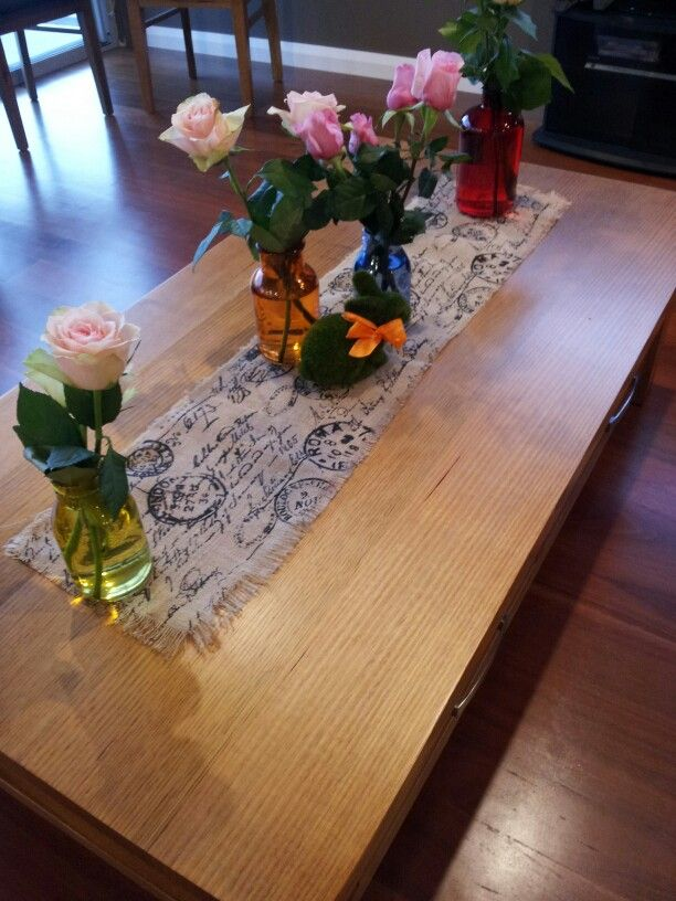 Coffee Table bunny and fresh roses