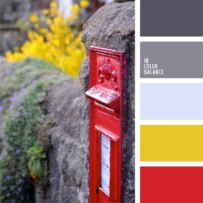amarillo y rojo, color caja postal de Lóndres, combinación de colores para decoración, elección del color, gris claro, gris oscuro, gris oscuro y amarillo, rojo y amarillo, selección de colores para una oficina, tonos grises.