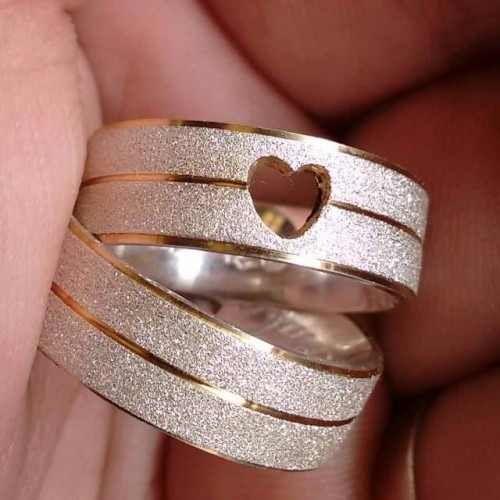 Alianças Prata 950 Namoro Coração Vazado Baratas Ouro