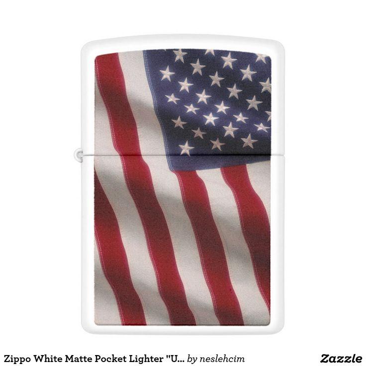 """Zippo White Matte Pocket Lighter """"USA Flag"""""""