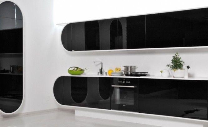 Luxusní kuchyně Line černobílá